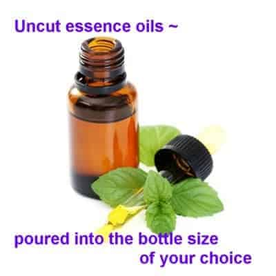 uncut essence oils poured into the bottle size of your choice